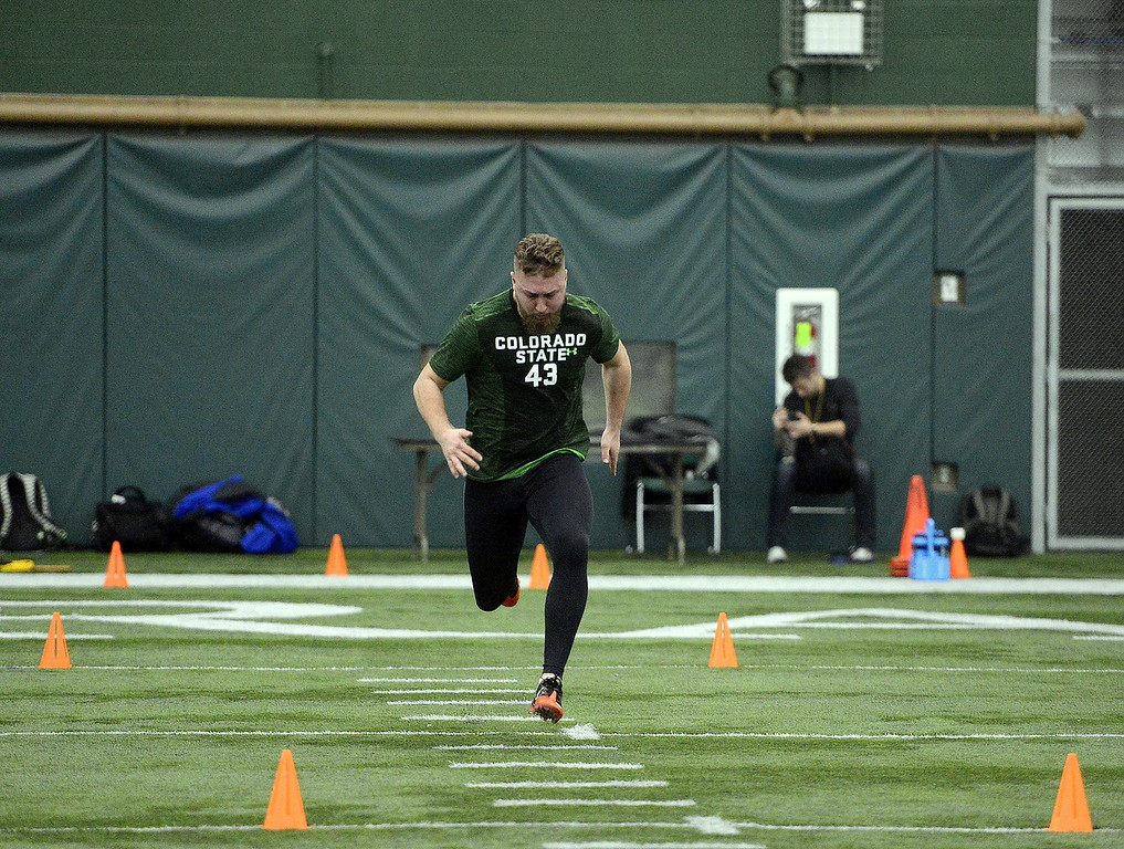 . Linebacker Evan Colorito sprints during the 40-yard dash at Colorado State\'s pro day on Wednesday. (Mike Brohard/Reporter-Herald)
