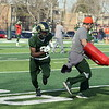Warren Jackson comes of a cut during a release drill at Colorado State's spring practice on Wednesday. (Mike Brohard/Reporter-Herald)