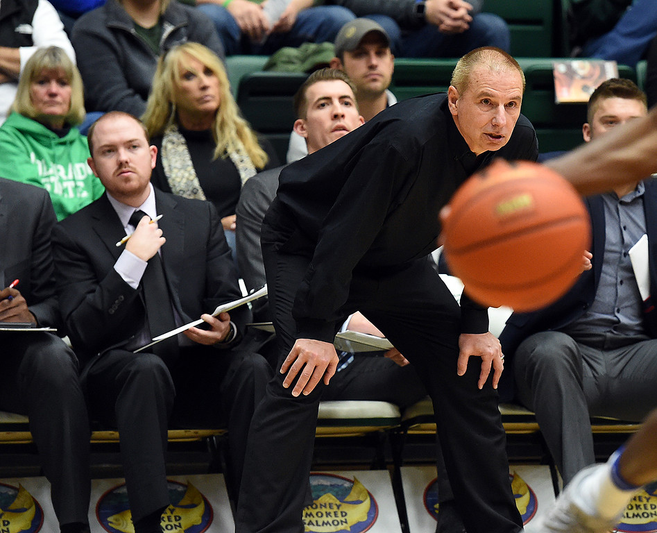 Colorado State University men's basketball coach Larry Eustachy keeps a close eye on the game as his team plays Air Force Wednesday, Jan. 17, 2018, at Moby Arena in Fort Collins. (Photo by Jenny Sparks/Loveland Reporter-Herald)