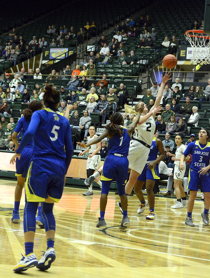 Stine Austgulen drives for a layup as San Jose State's Myzhanique Ladd defends at Moby Arena during Saturday's game. Austgulen led all scorers with 17 points in the Rams' 63-48 victory.