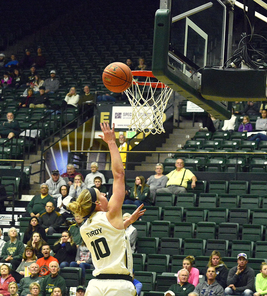 Colorado State's Hanna Tvrdy goes in for a breakaway layup during Saturday's game with San Jose State at Moby Arena. The Rams won 63-48.