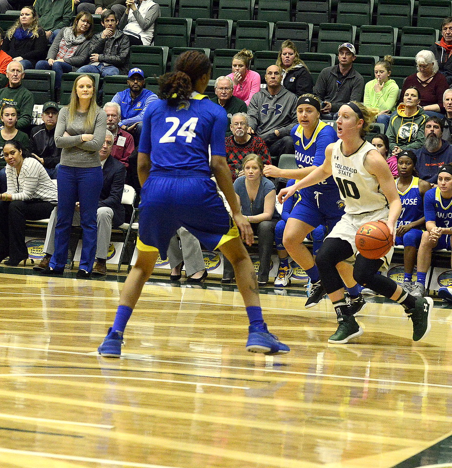 Colorado State's Hannah Tvrdy works the baseline looking for an open teammate against the defense of San Jose State's Alexis Harris durign Saturday's game at Moby Arena. Tvrdy had a double-double of 10 points and 10 rebounds in the 63-48 victory.