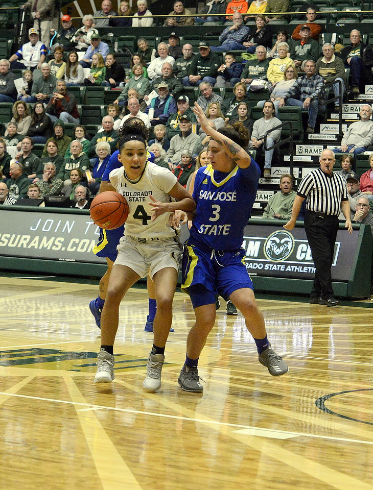 Jordyn Edwards of Colorado State drives the lane against the defense of San Jose State's Taylor Turney during Saturday's game at Moby Arena. The Rams won 63-48.