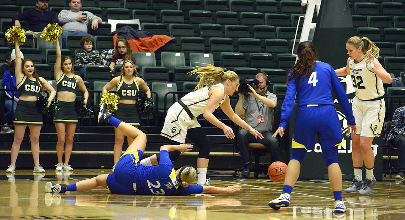 Colorado State's Sofie Tryggedsson comes away with a steal from San Jose State's Hallie Gennett during Saturday's game at Moby Arena. The Rams won 63-48.