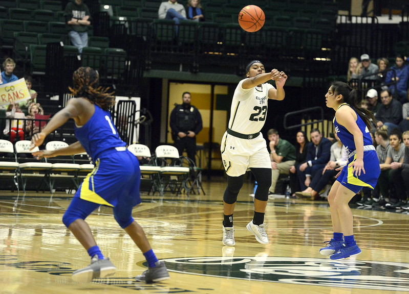 Colorado State guard Grace Colaivalu fires a pass up court during Saturday's game with San Jose State at Moby Arena. The Rams won 63-48.