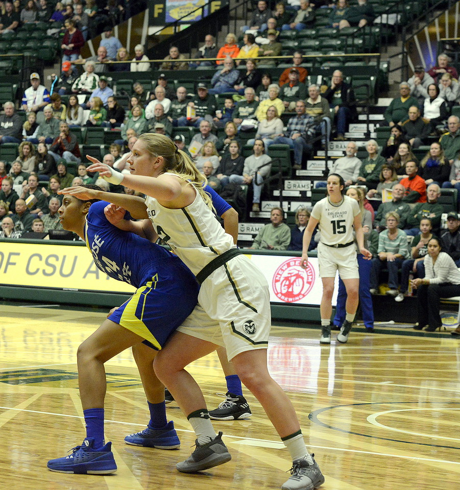 Annie Brady of Colorado State posts up against Alexis Harris of San Jose State on Saturday at Moby Arena. The Rams won 63-48.