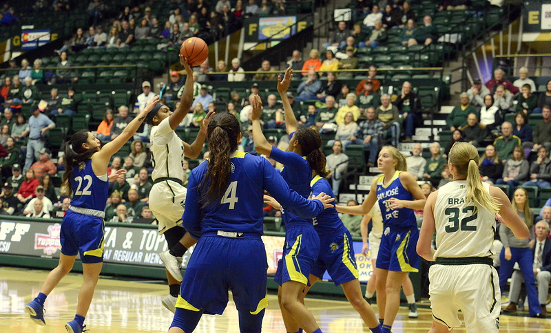 Colorado State's Grace Colaivalu puts up a running jumper in the lane during Saturday's game with San Jose State at Moby Arena. Colaivalu scored 15 in the 63-48 victory.