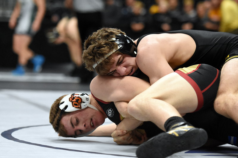 Thompson Valley's Chase Engelhardt competes during the state wrestling tournament quarterfinals Friday Feb. 16, 2018 at the Pepsi Center in Denver. (Cris Tiller / Loveland Reporter-Herald)