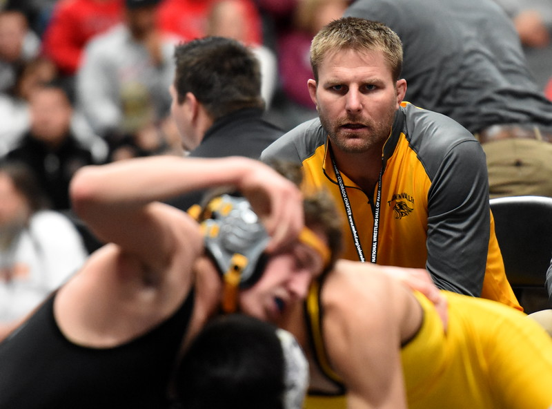 Thompson Valley coach Steve Gerrard looks on Friday Feb. 16, 2018 during the 4A state wrestling tournament at the Pepsi Center in Denver. (Cris Tiller / Loveland Reporter-Herald)