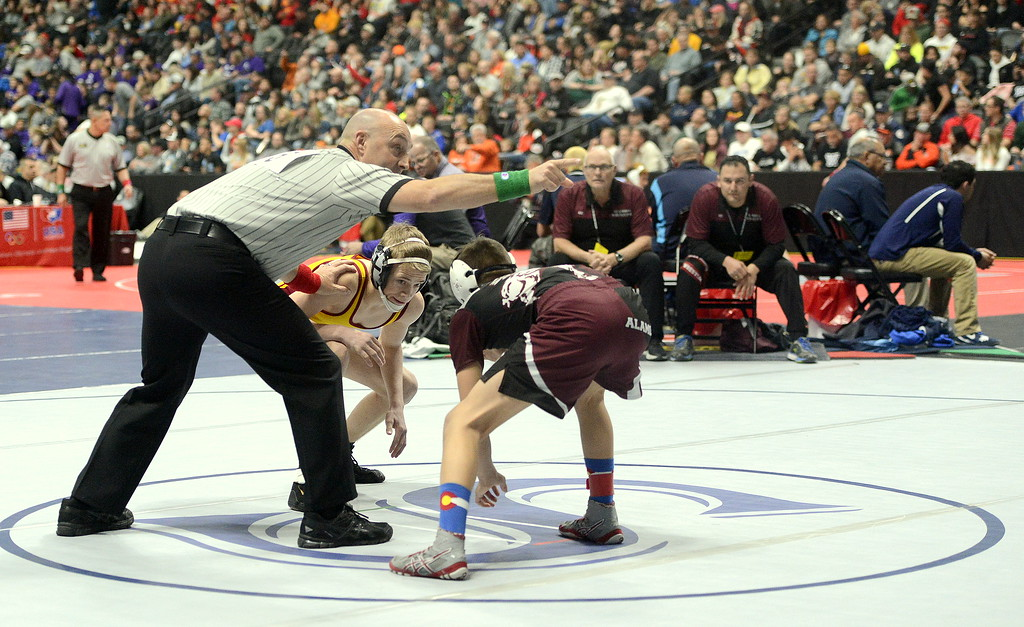 . Berthoud\'s Dalton Williams is primed at the start of his 3A state tournament 106-pound semifinal match with Davion Chavez of Alamosa on Friday night at the Pepsi Center in Denver.