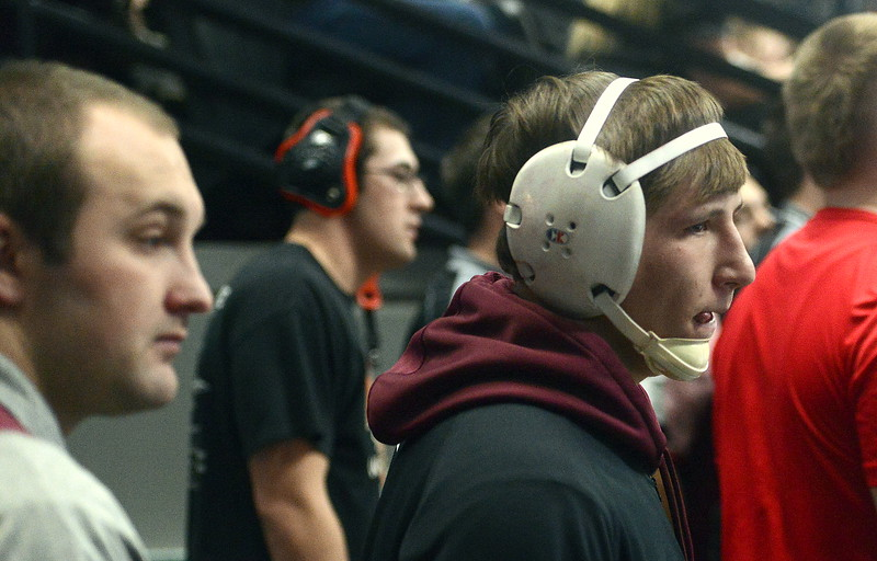 Berthoud's Brock Johnson awaits his 195-pound quarterfinal match at the 3A state wrestling tournament Friday at the Pepsi Center in Denver.