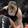 Thompson Valley's Hunter Williams eyes his opponent during the state wrestling tournament quarterfinals Friday Feb. 16, 2018 at the Pepsi Center in Denver. (Cris Tiller / Loveland Reporter-Herald)