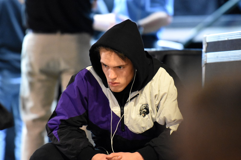 Mountain View's Jackson Gilbert prepares before his match during the state wrestling tournament quarterfinals Friday Feb. 16, 2018 at the Pepsi Center in Denver. (Cris Tiller / Loveland Reporter-Herald)