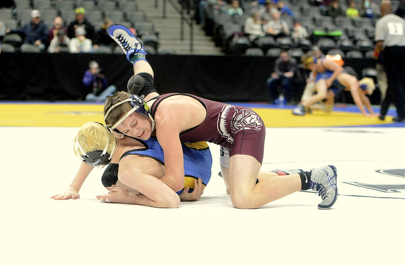 Kolten Strait of Berthoud gains control in his 113-pound 3A quarterfinal match with Johnny Masopust of Florence on Friday at the Pepsi Center in Denver. Strait advanced to the semifinals with a 4-3 decision.