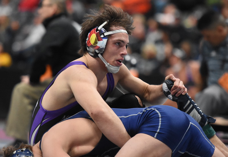 Mountain View's Jackson Gilbert competes during the state wrestling tournament quarterfinals Friday Feb. 16, 2018 at the Pepsi Center in Denver. (Cris Tiller / Loveland Reporter-Herald)