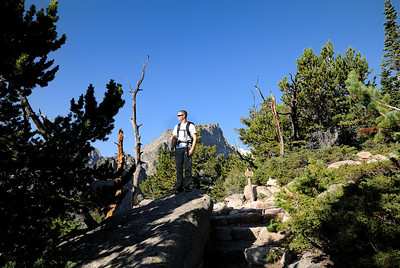 Will probably looking at Longs Peak in the distance.  You get some great views down into Bear Lake and Emerald Lake along the way.