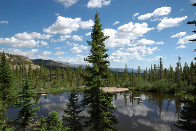 """After a short hike, the """"primitive"""" trail passed a little lake.  I spent my """"lunch break"""" there and enjoyed the sunshine and the view.  During my time there I saw no people (a couple did show up just as I was leaving) which is fairly incredible for being so close to Bear Lake."""