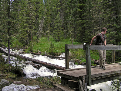 Here is Will on the bridge that crosses Fall Creek.  Later in the summer the bridge is probably unnecessary, but this early in the season it's a really good thing to have.