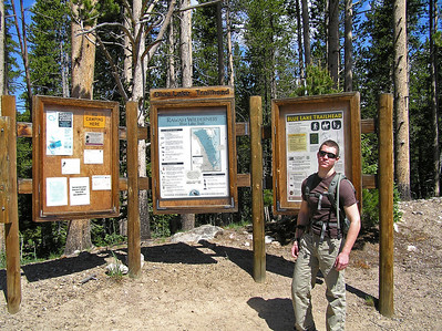 Well, after spending a few minutes with the moose, I headed back to the trailhead where Will was waiting (patiently) for me.  Nice trailhead with a pretty good map of the trail.