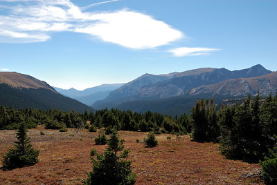 Here is the view from Forrest Canyon pass.  Moraine Park is way down there somewhere.  Interesting that there is no trail (maintained) that comes up Forrest Canyon.  It'd probably be close to a 10 mile hike down to the Fern Lake trail.  Quite a few canyons and lakes off to the right of the canyon that, I would imagine, get very few visits from people.