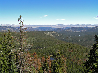 After a while, we could see back down across RMNP to the town of Estes Park way in the distance.