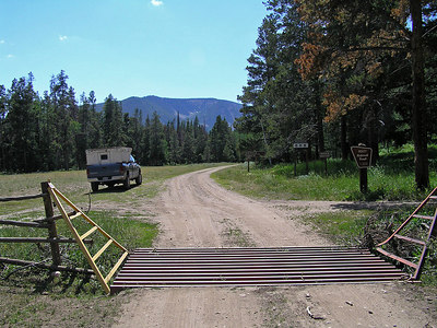 So, this is the entrance to Routt National Forest.  Had to go through some private ranch land (Lone Pine Ranch) to get here.  If you get here after dark, this would be a very good place to pull off and set up a quick camp.
