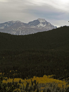 Zoomed in a little.  The season for hiking up Longs Peak is probably over.  Too much snow and ice in the boulder fields.