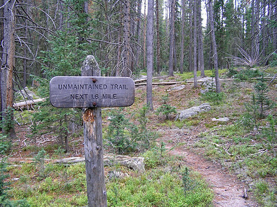 We took off up the trail to Long Meadow and immediately noticed two things.  One, a sign telling us that this was not a normal RMNP trail.