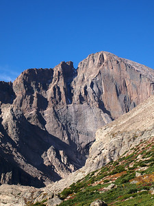 "View of Longs Peak from Chasm Lake overview.  That's the famous, or infamous, ""diamond"".  Had a friend of mine die on it."