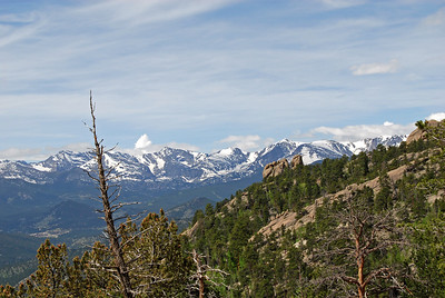 This is a zoom on the right.  It shows Flattop Mountain (last flattish looking mountain on the right) which Will and I climbed over (twice) in our Bear Lake to Grand Lake and back hike.