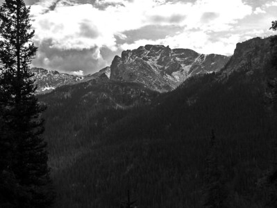 Here is a view of a mountain in B and W.