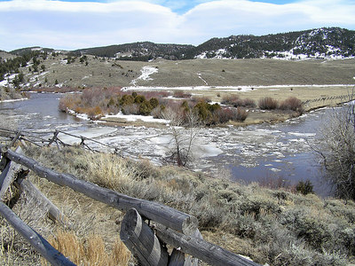 This is what the North Platte river looks like in early April.  Ice is breaking up and moving downstream.  Downstream is to the left.