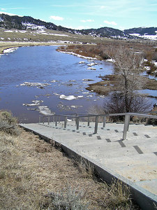 This is a popular (well, relatively speaking : ) put in point for rafters and kayakers to float down through the Platte River Wilderness Area.  To help control damage to the shore, they have built a nice ramp down to the river.