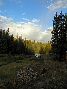 A look back at my camper during a short stroll (trying to see if there were any elk/deer out in the meadow).
