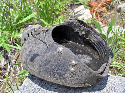 Someone lost a shoe : ) I tried it on, but it was too small.  It's too bad, as the bottom had a lot of good tread left.  I've never been around stock that used them, but they are supposed to be pretty nice.  All you have to know how to do is trim the hoofs.  No need to have any experience with sizing a horseshoe, how to nail and crimp, etc.