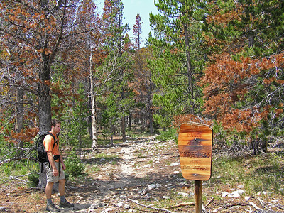 "After a couple of miles (the exact length is heavily debated; depending on if the measuring is done at the beginning of the hike or the end of the hike), we came to one of the few signs we would see during the day.  Yes, this was the Zirkel Wilderness entrance.  Note how exactly ""which"" entrance is somehow missing?"