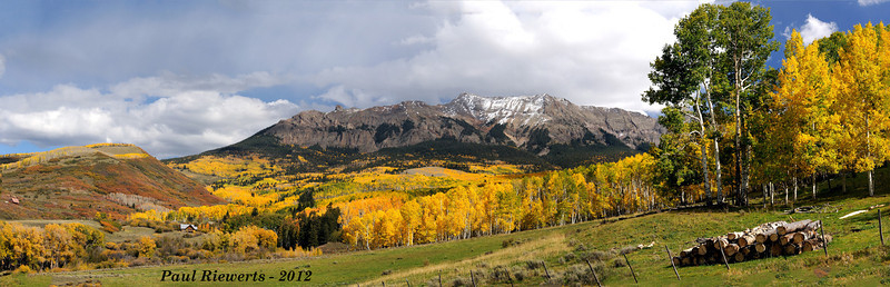Corbett Peak and Whitehouse Mountain from Ouray County Road 5 - Panoramic - San Juan Mountains, Colorado - Paul Riewerts - September 2012
