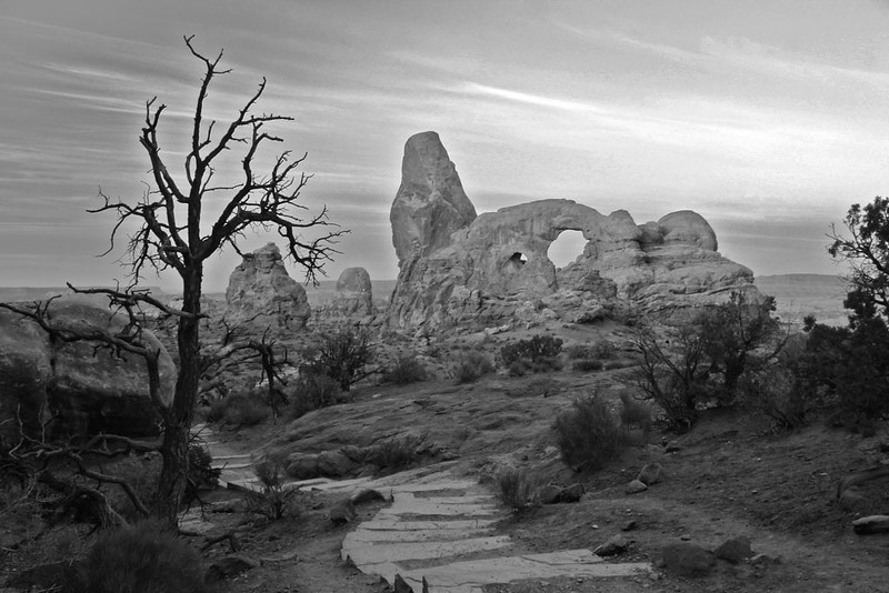 Turret Arch in Monotone - Arches National Park, Utah - Sandy Reed - October 2012
