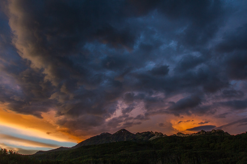 Sunset Sky over Mount Owen, Ruby Peak and The Dyke, Raggeds Wilderness Area, Crested Butte - Colorado Wildflowers - Nancy Varga - July 2015