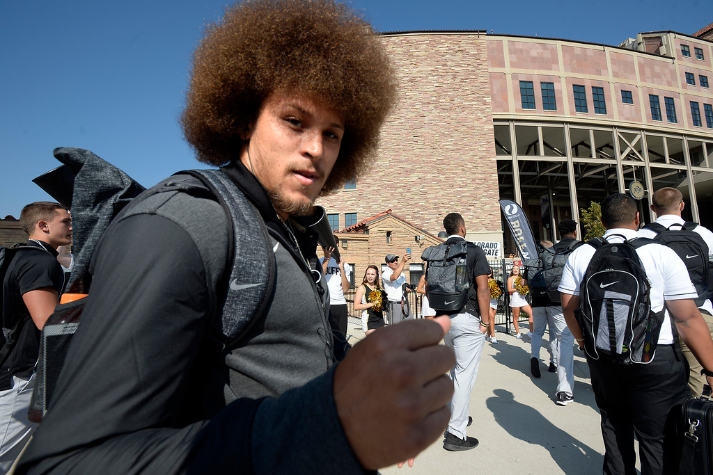 . Phillip Lindsay  arrives on the Buff Walk before the game with Texas State on Saturday. For more photos, go to buffzone.com.  Cliff Grassmick / Staff Photographer/ September 9, 2017
