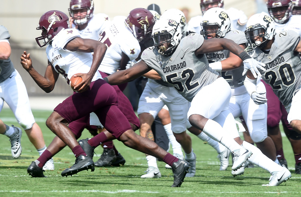 . Leo Jackson, III, of CU, runs down TSU QB, Willie Jones, III, during the game with Texas State on Saturday. For more photos, go to buffzone.com.  Cliff Grassmick / Staff Photographer/ September 9, 2017