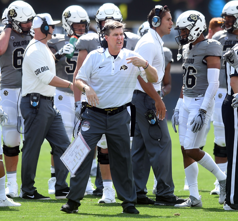 . CU head coach, Mike MacIntyre, during the game with Texas State on Saturday. For more photos, go to buffzone.com.  Cliff Grassmick / Staff Photographer/ September 9, 2017