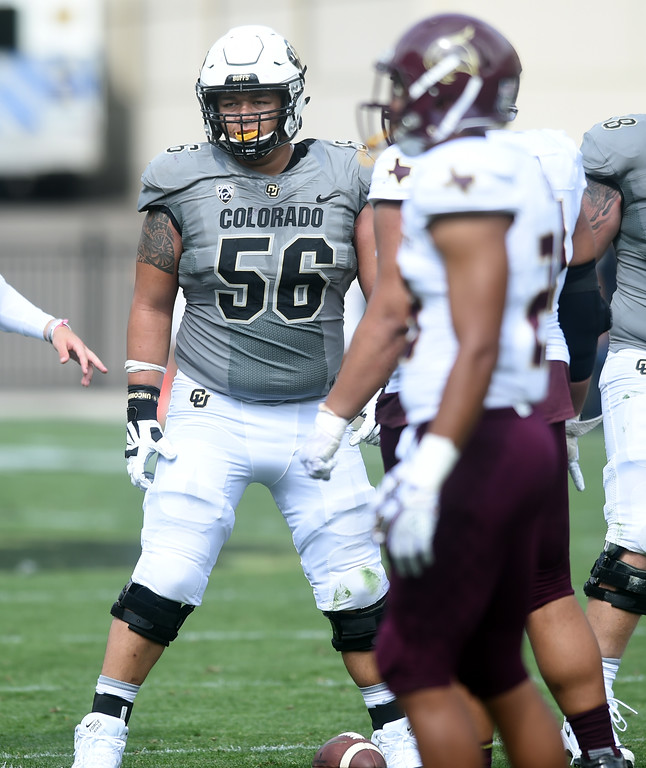 . Tim Lynott, Jr, plays center,  on the CU offensive line during the game with Texas State on Saturday. For more photos, go to buffzone.com.  Cliff Grassmick / Staff Photographer/ September 9, 2017