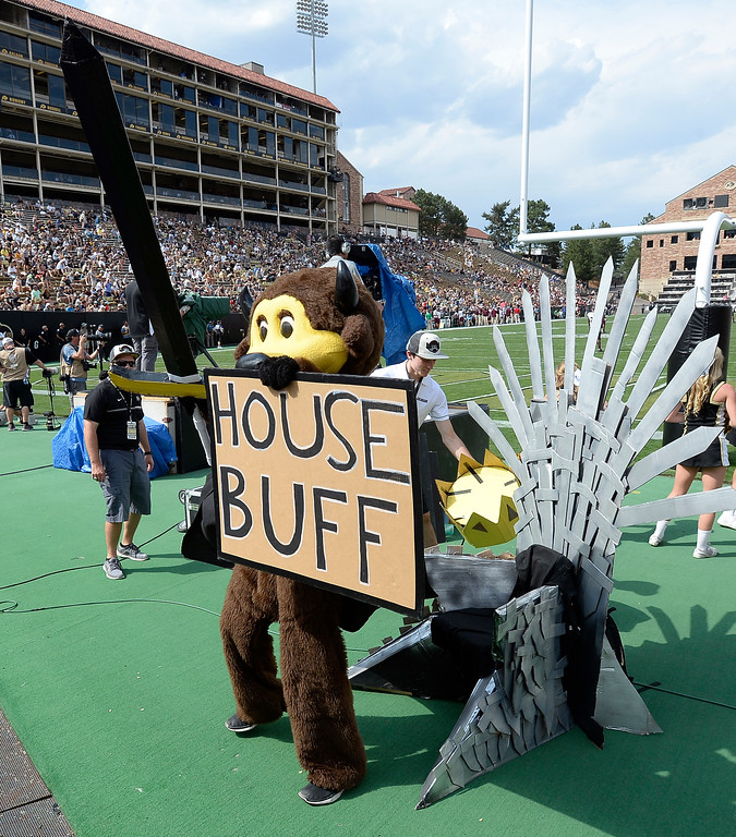 . Chip the Buffalo is the King of the House during the game with Texas State on Saturday. For more photos, go to buffzone.com.  Cliff Grassmick / Staff Photographer/ September 9, 2017