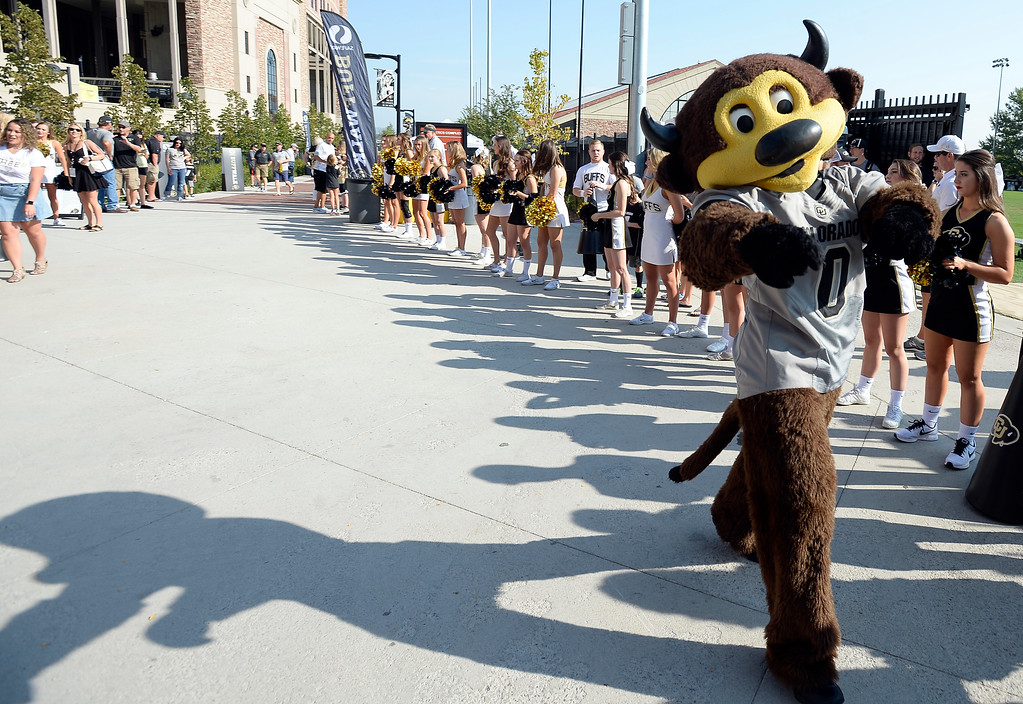 . Chip has arrived outside Folsom Field before the game with Texas State on Saturday. For more photos, go to buffzone.com.  Cliff Grassmick / Staff Photographer/ September 9, 2017
