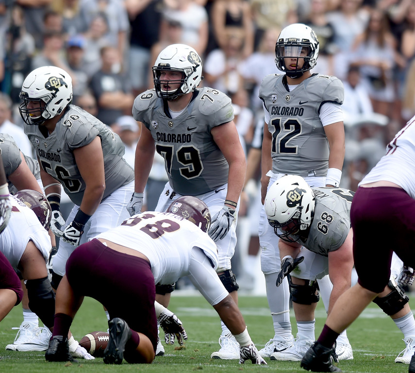 . Jonatahn Huckins, of the CU O-line, during the game with Texas State on Saturday. For more photos, go to buffzone.com.  Cliff Grassmick / Staff Photographer/ September 9, 2017