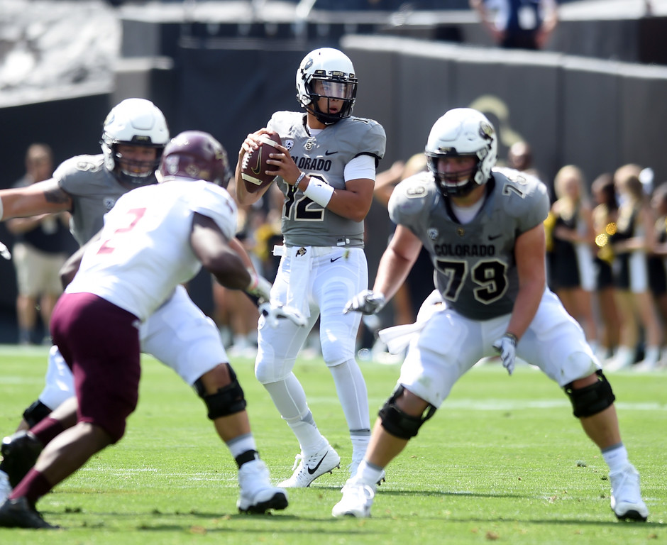 . CU QB, Steven Montez, in the pocket during the game with Texas State on Saturday. For more photos, go to buffzone.com.  Cliff Grassmick / Staff Photographer/ September 9, 2017