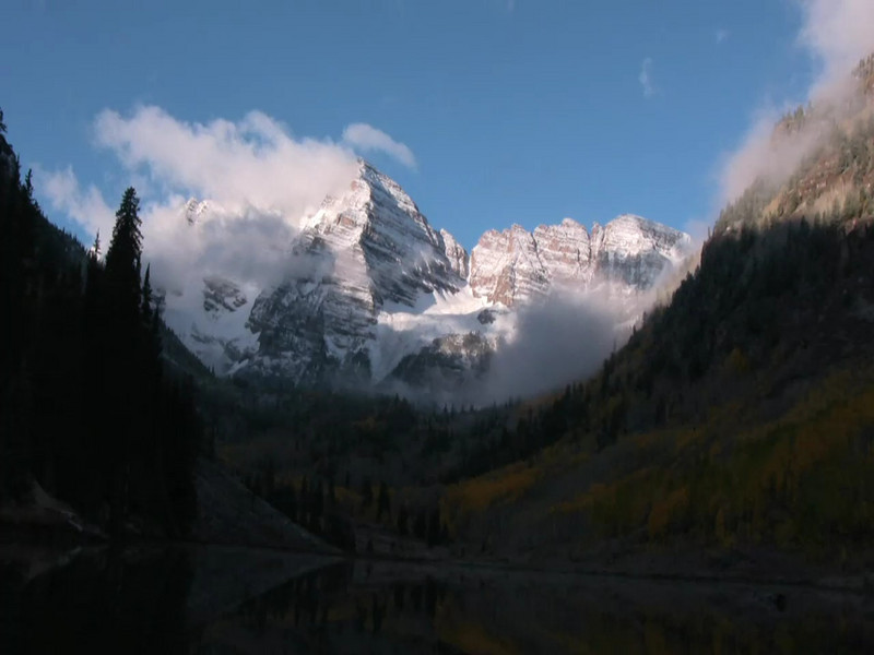 Daybreak at the Maroon Bells National Recreation area in Colorado.