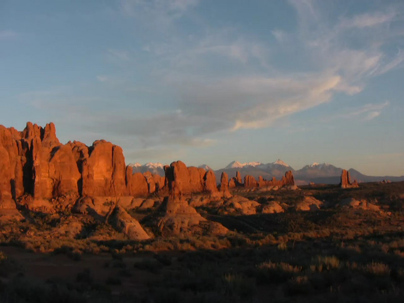 Sunset at the Garden of Eden area in Arches National Park in Utah.