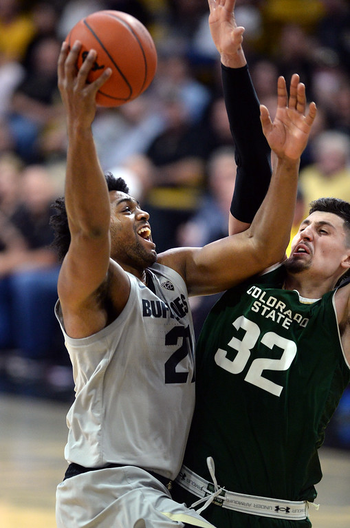 . BOULDER, CO: December 1:  Evan Battey, of CU drives on Nico Carvacho, of CSU, during the Colorado and Colorado State men\'s basketball game. (Photo by Cliff Grassmick/Staff Photographer)